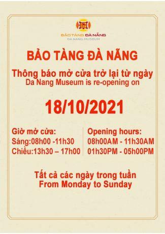 Bảo tàng Đà Nẵng thông báo mở cửa trở lại